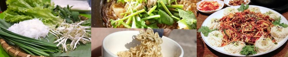 Vietnamesische Nudelgerichte Collage